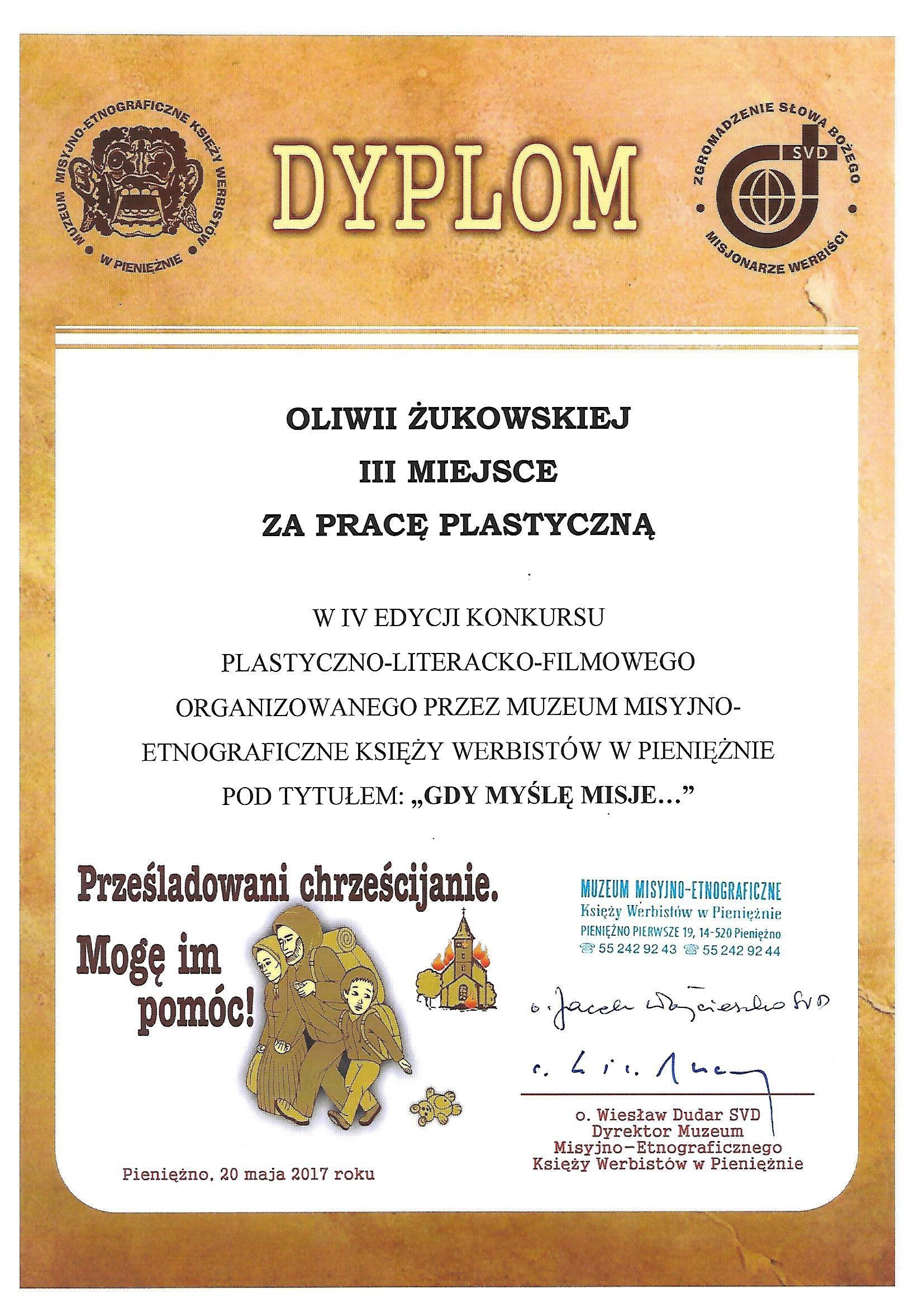 OLIWIA ŻUKOWSKA- laureatka konkursu plastycznego