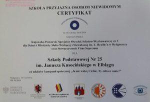 Certyfikat Szkoła Przyjazna Niewidomym
