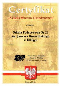 Certyfikat Warmińsko-Mazurskiego Kuratora Oświaty Szkoła Wierna Dziedzictwu