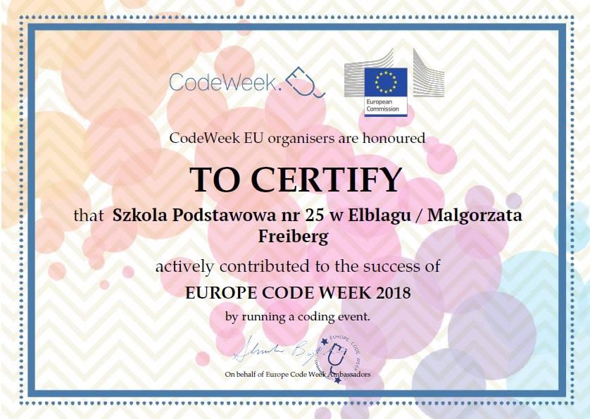 Otrzymaliśmy tytuł Laureata Code Week 2018
